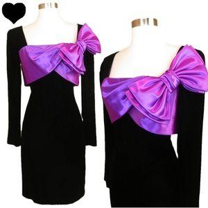 Vintage 80s Purple Bow Black Prom Party Dress M